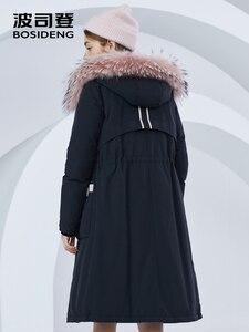 Image 4 - BOSIDENG חדש גדול אמיתי פרווה צווארון ברדס למטה מעיל ארוך עבה למטה מעיל נשי באיכות גבוהה אופנה parka B80141134