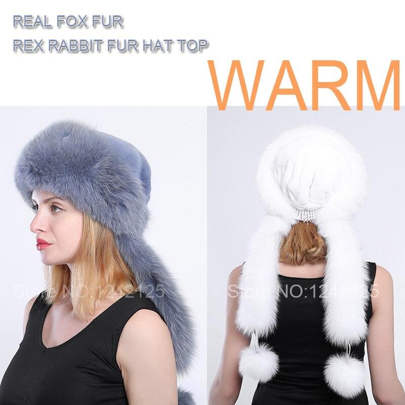 Winter Russia women lady girl fur hat warm real fox hat pompom Mongolia fur hat rex rabbit Crown scarf & hat   Skullies     Beanies