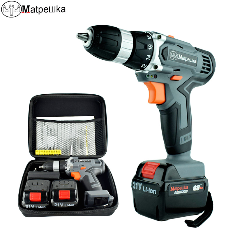 21V <font><b>Electric</b></font> <font><b>Screwdriver</b></font> <font><b>Cordless</b></font> Electrical Tools Household Multi-function Rechargeable <font><b>Drill</b></font> 2 Batteries+1Cloth bag+13Gift image