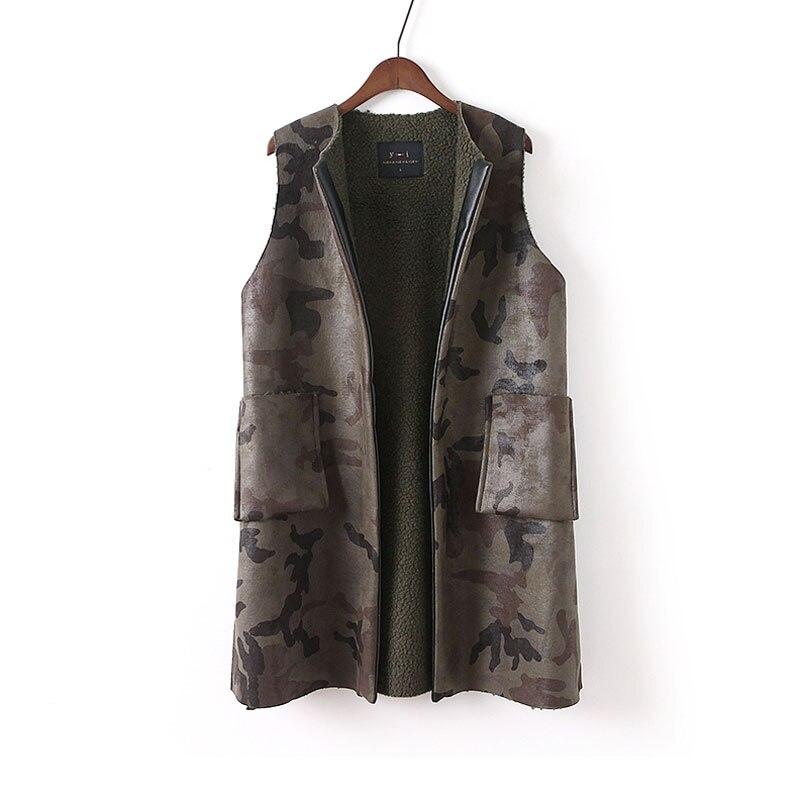 Women Vest Waistcoat Lamb Wool Liner Military Camouflage