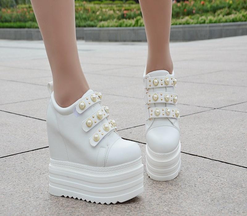 Nouvelle À Noir Semelles A Coins La Haute Talons Sport Augmenté De Version Hauts Femmes Chaussures Épaisses blanc Belle Coréenne Polyvalente chaussures dCqaEHn5d