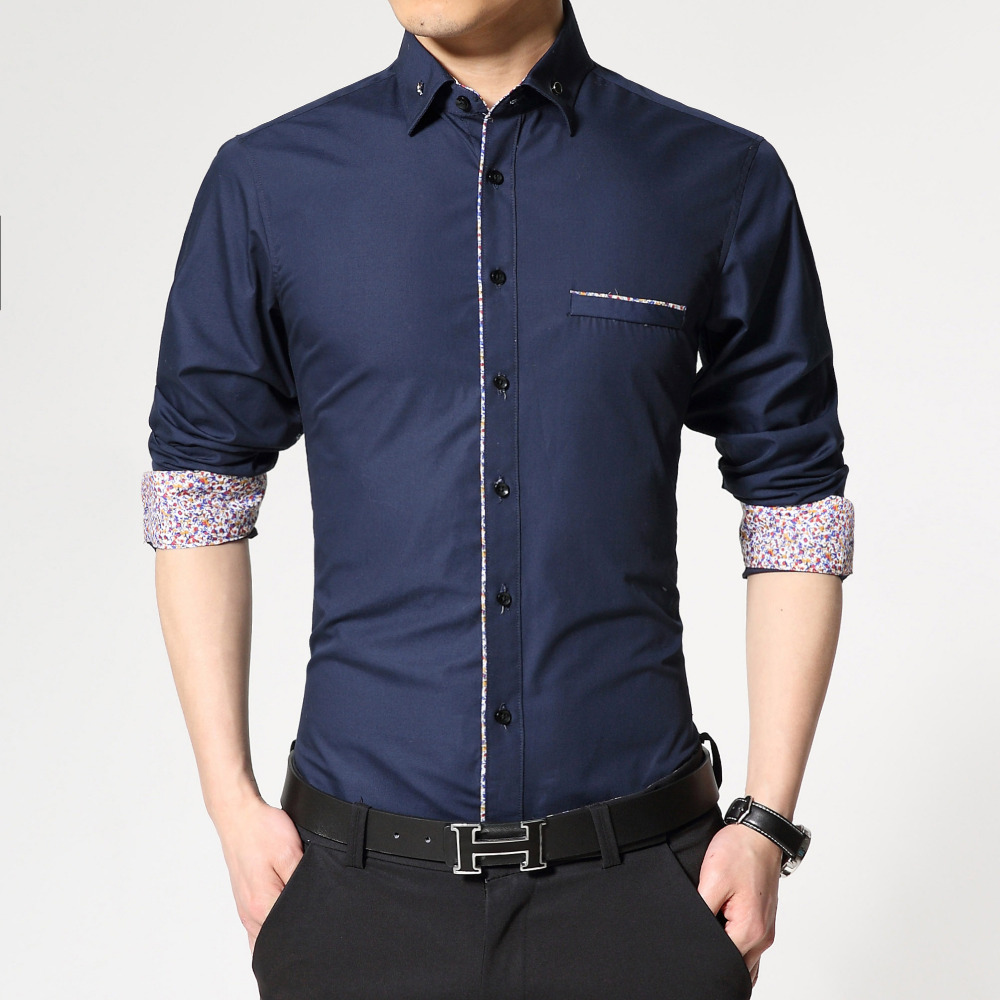 New Brand Long Sleeve Causal Men Shirt Printing Cuff