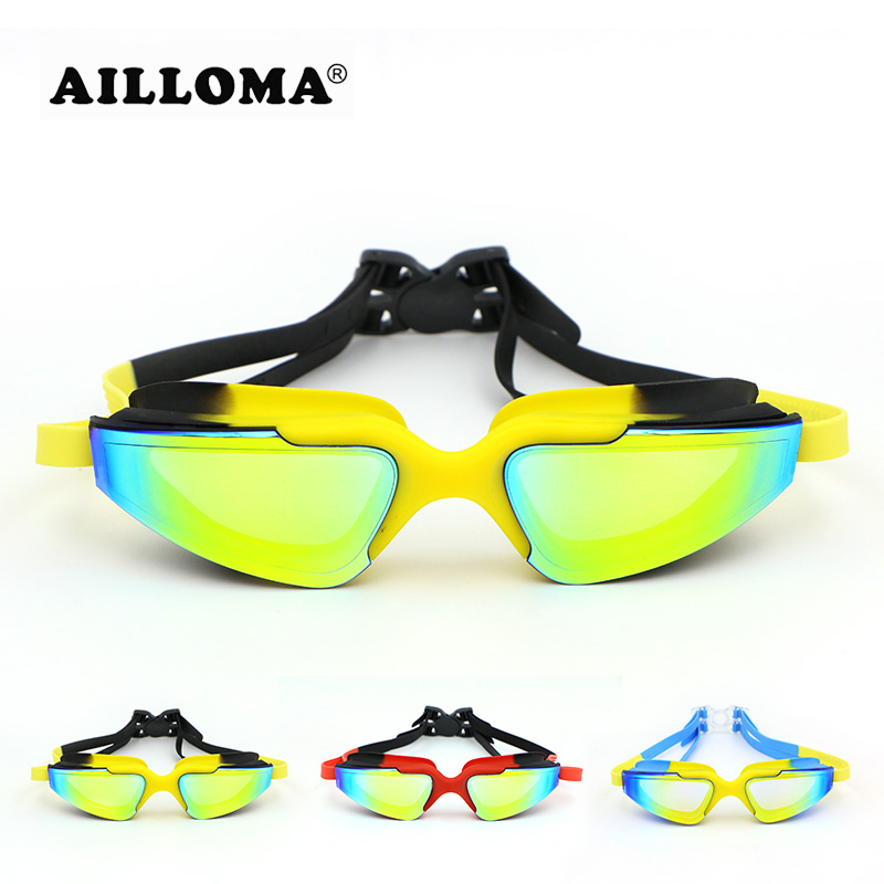 AILLOMA Professional Electroplated Waterproof Glasses Adult Anti-fog UV400 Protection Eyewear Coating Mirrored Swimming Goggles