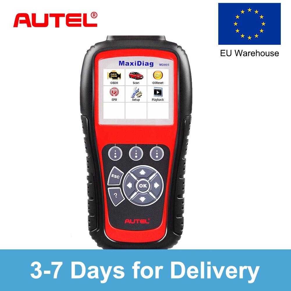 Autel MD805 (MD802 обновленная версия) все системы OBD2 сканер для двигателя, передачи, ABS, подушка безопасности, EPB, рулевого управления инструмент диа...