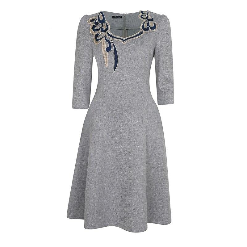 Vestido de una línea de retazos de bordado de nueva moda para mujer - Ropa de mujer - foto 4