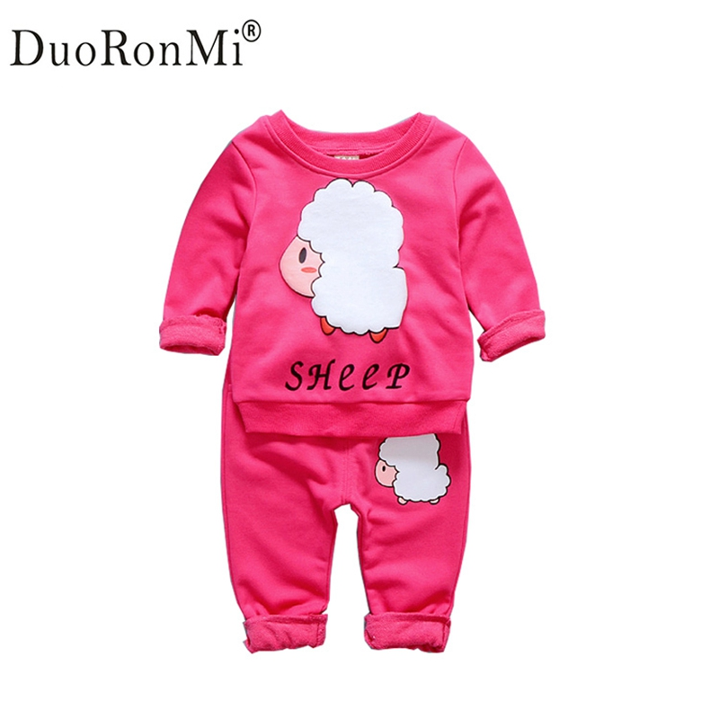 Spring Autumn Baby Girls Clothes Set Cartoon Sheep Casual Sport Suit Infant Toddler Cotton Sweatshirt +Pant 2pcs Set