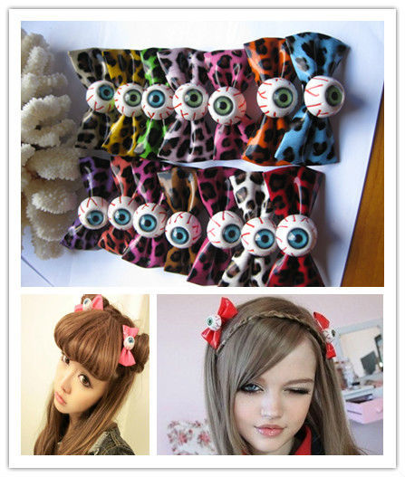 12pairs/lot Harajuku Eyeball Leopard Printed Leather Hair Bow Hair Clip for Cosplay Costume HJ119