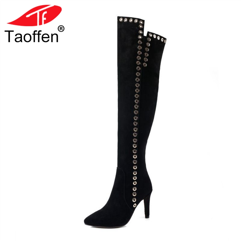 TAOFFEN Women High Heel Boots Genuine Leather Pointed Toe Zipper Over Knee Rivets High Quality Shoes Vintage Footwear Size 34-41 women winter genuine leather low heel rivets pointed toe side zipper fashion over the knee boots plus size 33 43 sxq1013