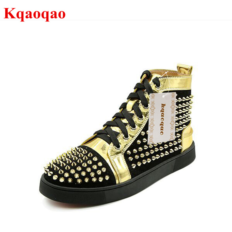 Brand Design Gold Rivets Embellished Men Casual Shoes High Top Front Lace Up Stylish Shoes Round Toe Sneakers Hommes Chaussures round toe women winter boots denim design high top lace up shoes butterfly knot embellished crystal decor stylish short booties