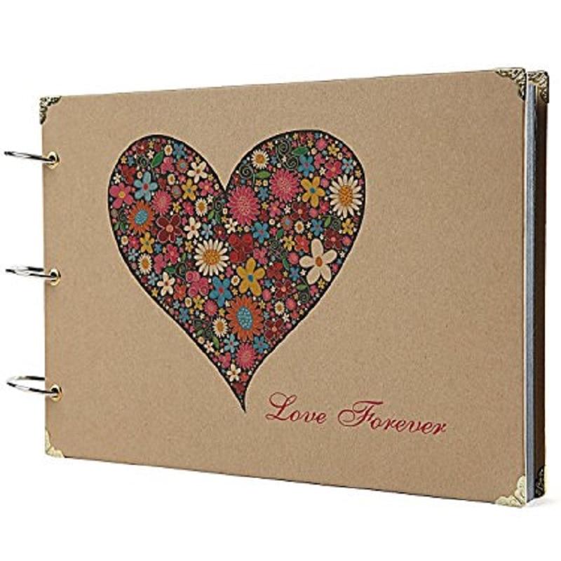 Photo Titulaire Album Coeur Imprimé Album Avec Scrapbooking Boîte De Rangement Pour Cadeaux/Mariage Livre D'or/Voyage Livre