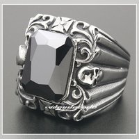 316L Stainless Steel Cool Cross And Skull CZ Men S Ring 4B033