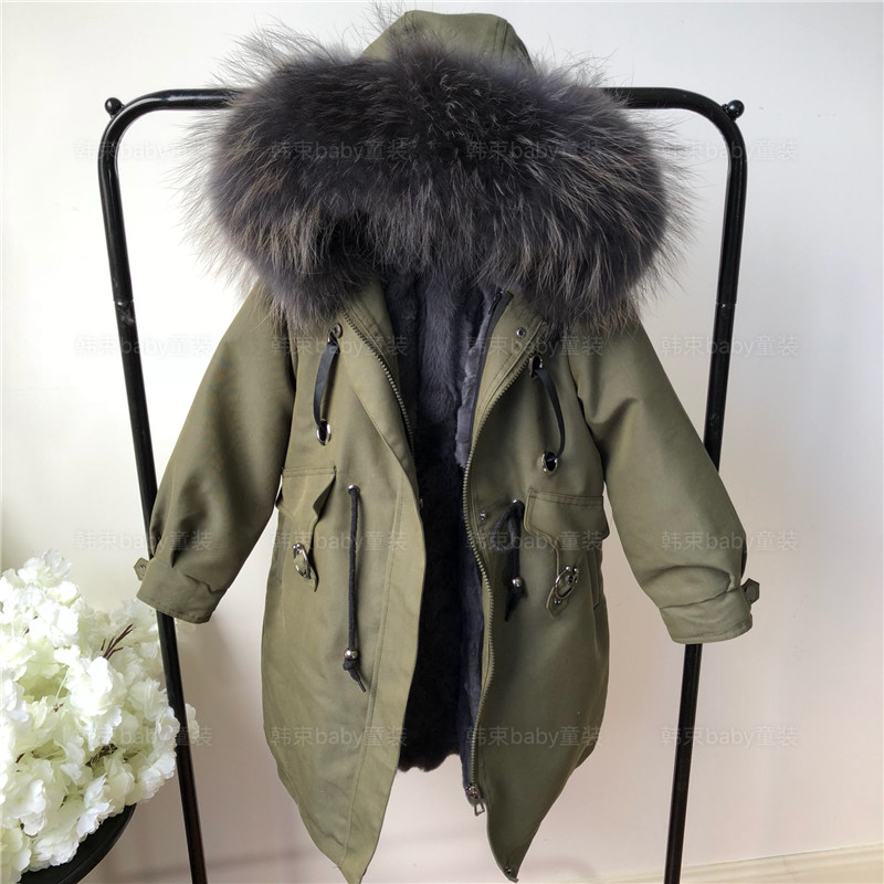Kid's Army Green Jackets Winter Warm Windproof Real Fur   parkas   for Baby boys Girls hooded long cotton padded coats