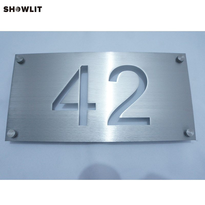 Brushed Steel Custom Made House Address Plaque office sign custom made 2 tile address plaque in grey