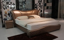 plaid contemporary genuine leather bed modern bedroom furniture made in China