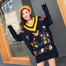 Мелинда Стиль Новинка 2017 свитер для женщин v-образным вырезом с длинными рукавами вышитый цветок, Топ Бесплатная доставка