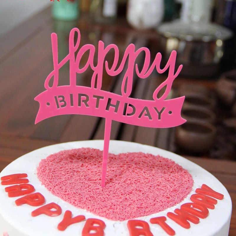Novo acrílico feliz aniversário cupcake topper rosa ouro vermelho acrílico bolo topper bandeira para festa de aniversário decorações do bolo do chá de fraldas