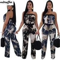 2018 Summer Bohemian Style Strapless Jumpsuit Wide Leg Pants Backless Floral Print Rompers Loose Off Shoulder Macacao Feminino