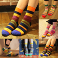 Hot Fashion New Autumn Winter Women Cotton Socks Stripe Design Multi-Color Unisex Casual Warm Cute Boot Sock chaussette femme Z1
