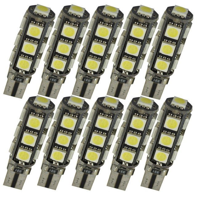 10 stks W5W T10 13 SMD 5050 Led Canbus Auto auto Kentekenplaatverlichting Reserve Licht Dome Gloeilampen 12 V wit