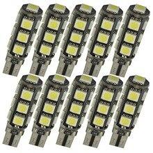 10 قطع w5w t10 13 smd 5050 الصمام الخفيفة في canbus السيارات رخصة السيارة لوحة ضوء احتياطي ضوء قبة مصباح لمبات 12 فولت الأبيض