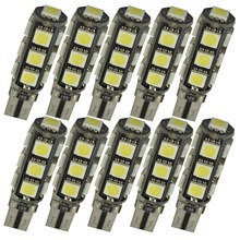 10pcs W5W T10 13 SMD 5050 Led Light Canbus Auto Car License Plate Light Reserve Light Dome Lamp Bulbs 12V White