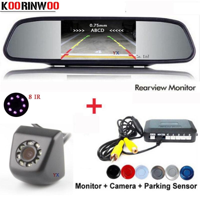 KOORINWOO Dual Core CPU 4 Car Parking Sensors Car Rear view camera Parking Parkronics Backup Reversing Radar Alarm Video System