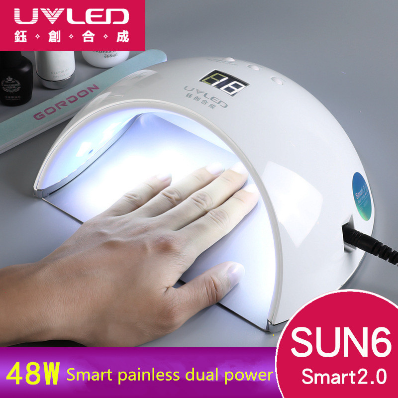 SUN6 Smart Led Nail Lamp SUNUV UV Lamp Dryer Metal Bottom LCD Display Multicolors for Curing UV Gel Nail Polish Art Tools sunuv sun6 uv led nail dryer lamp 48w smart 2 0 low heat uv lamp for manicure curing nails gel polish