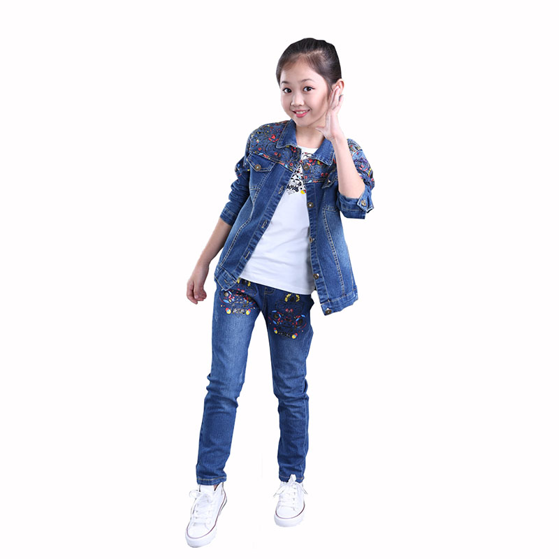 Girl Denim Clothing Sets for 2017 New Autumn Girls Fashion Clothing Kids Denim Coat & Jeans 2 Pcs Kids Clothes 3 6 9 11 13 Years retail kids 2017 baby girls clothes summer girls clothing sets kids clothes girl denim t shirts denim shorts sets 2 6 years 2