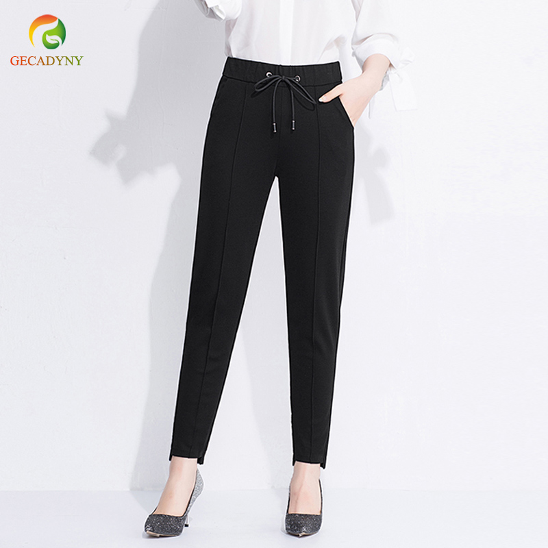 Ladies Work Harem Pants Women Stretch High Waist Drawstring Causal OL Pants Capri Loose Capris For Women Trousers Work Wear