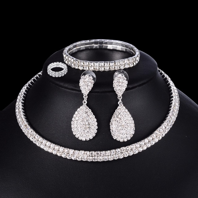 4 PCS Luxury Wedding Bridal Jewelry Sets for Brides Women Necklace Bracelet Ring Earring Set Elastic Rope Silver Crystal Jewelry 2
