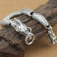 925 стерлингового серебра пара дракон браслет Для мужчин Винтаж панк рок Браслеты Байкер Готический ювелирные изделия Pulsera Hombre
