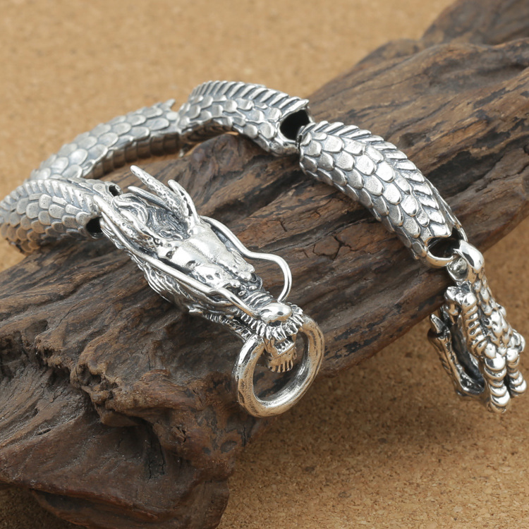 925 Sterling Silver Couple Dragon Bracelet Men Vintage Punk Rock Bracelets Biker Gothic Jewelry Pulsera Hombre