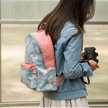 Korean 3D Flamingo Cartoon Printing Backpack Stitching Floral Casual Daily Travel Bag Teenagers School Bag Mochila LB317