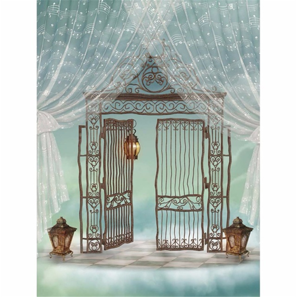 Music Notes Printed Curtain Vinyl Backdrops Photography Iron Gate Vintage Lantern Fantasy Paradise Baby Kids Photo Background