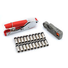 RG59(4C) RG6(5C) compression crimping Tool Coax Cable Wire Stripper Kit + 20 PCS RG6 Compression f Connector