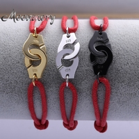 Handcuff Shaped S925 Sterling Silver Bracelet With Red Rope 3 Colors Available France Popular Handcuff Bracelet