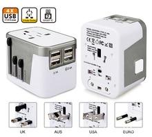 4 Puerto USB Todo en Uno Universal Adaptador de Enchufe Internacional Mundial viaje AC Cargador Adaptador con Enchufe de LA UE EE.UU. REINO UNIDO AU
