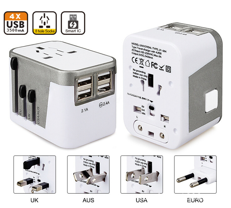 Iseebiz World Travel Universal Adapter 4 USB Port All in One USB Charging outlet AU/US/UK/EU Plug AC Power Charger Adapter all in one universal international plug adapter 2 usb port world travel ac power charger adaptor with au us uk eu converter plug