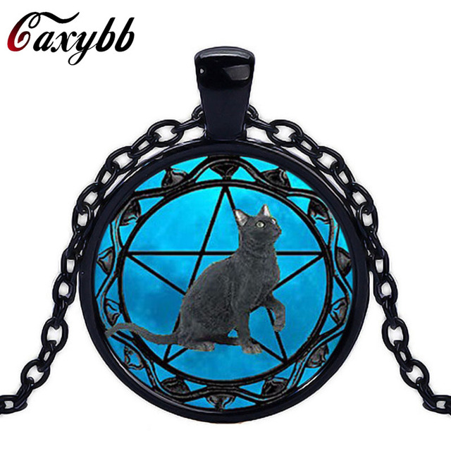 Caxybb black cat pendants for women wiccan necklace collar wicca caxybb black cat pendants for women wiccan necklace collar wicca pentagram blue glass pendant cristal colgante aloadofball Gallery