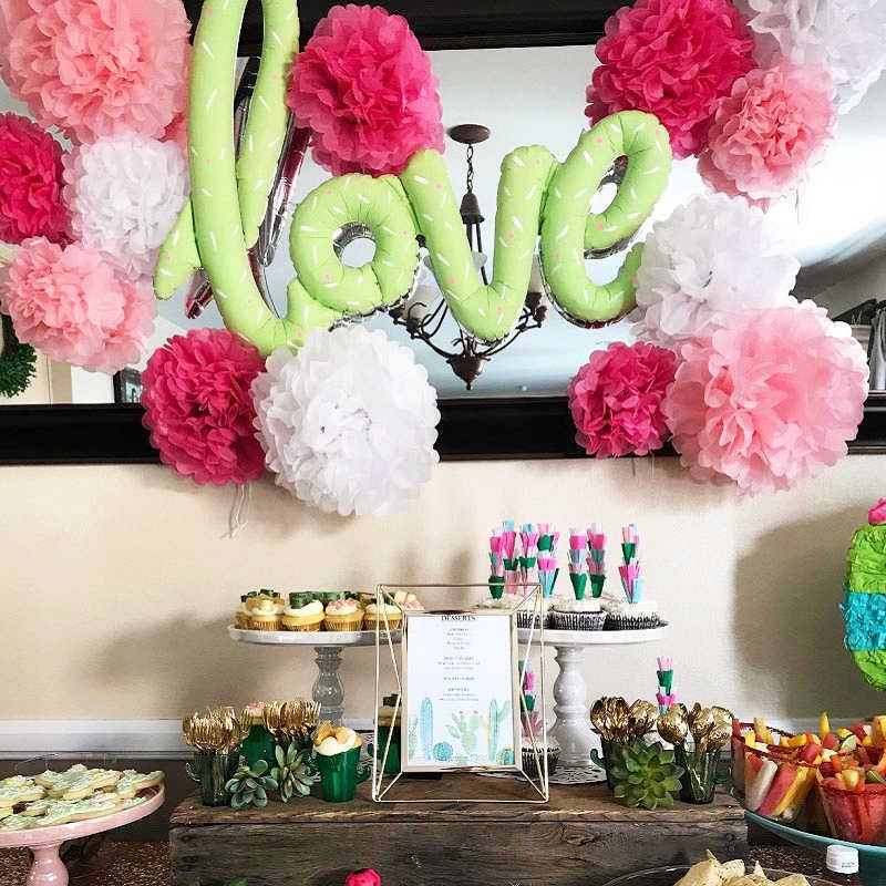 5 sztuk 6 ''-12'' papierowe pompony z chusteczek ślub papier dekoracyjny kule kwiatowe Baby Shower dekoracja urodzinowa papierowe pompony