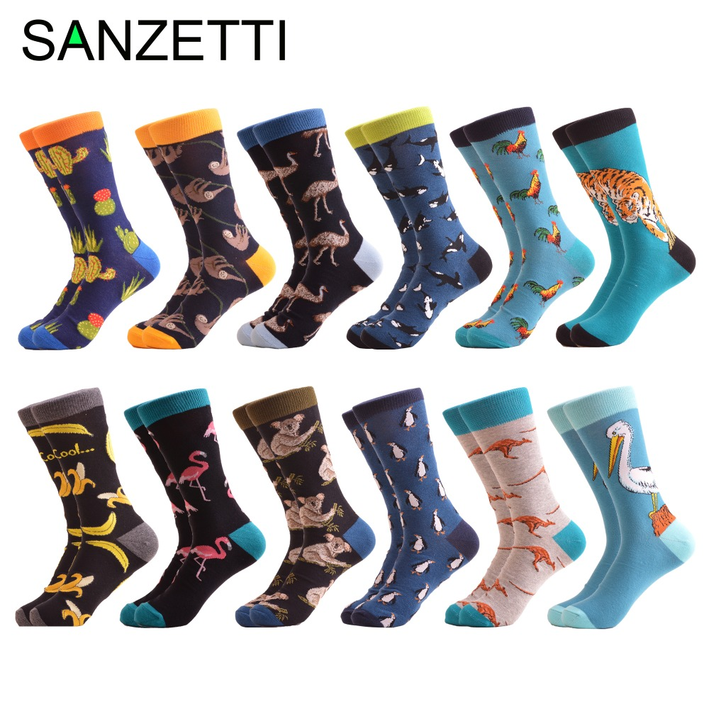 SANZETTI 12 pairs/lot Wholesale Funny Men's Combed Cotton Colorful   Socks   Ostrich Shark Pattern Novelty Causal Dress Wedding   Sock