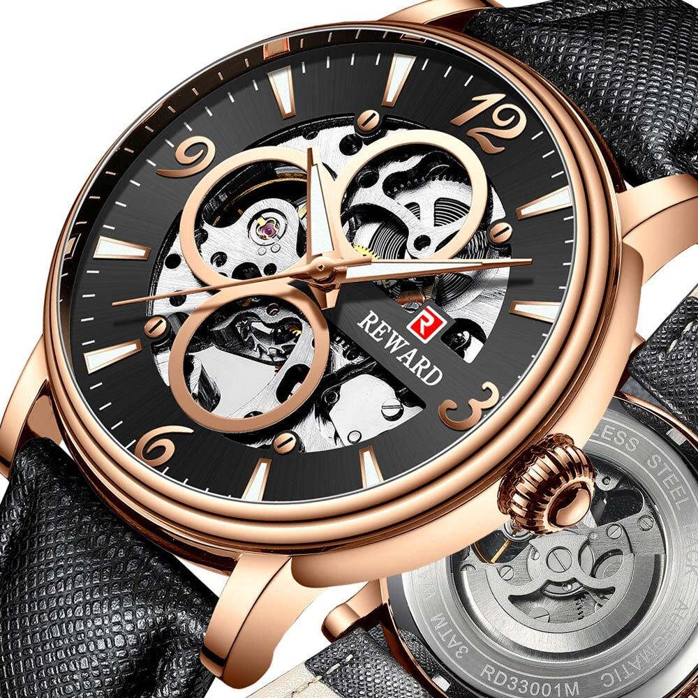 Men's Luxury Brand Automatic Mechanical Wristwatch Genuine Leather Strap Black Watch Man Skeleton Clock relogio masculino 2019