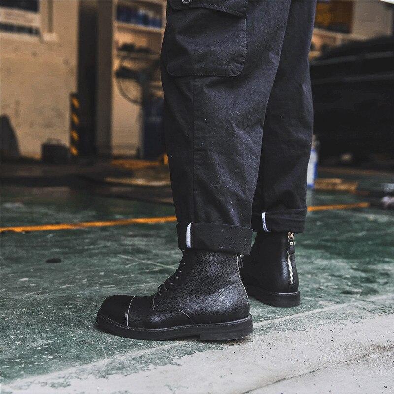 Zapatos Redonda Botas Planos De Casual Bota Negro Motocicleta Punta Con Cuero Hombres Personalidad Genuino Moda Cremallera wPgxz7qXn