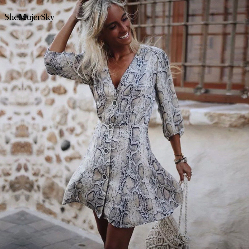 2f93a507261 Detail Feedback Questions about SheMujerSky Snake Skin Print Long Sleeve  Mini Dress Autumn V neck Sexy Buttons Ladies Dresses vestiti donna on ...