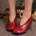 2017 Nova Primavera de Couro Genuíno Sapatos de Salto Alto Mulheres Bombas Dedo Do Pé Redondo Sapato Estilo Saltos Robustos Tornozelo de Couro Feitos À Mão Do Vintage