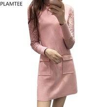 New Autumn/Spring Slim Vestido Long-sleeved Lace Dress Suede Pink Dresses Women Plus Size Round Neck Dresses Sweet Pocket Elbise