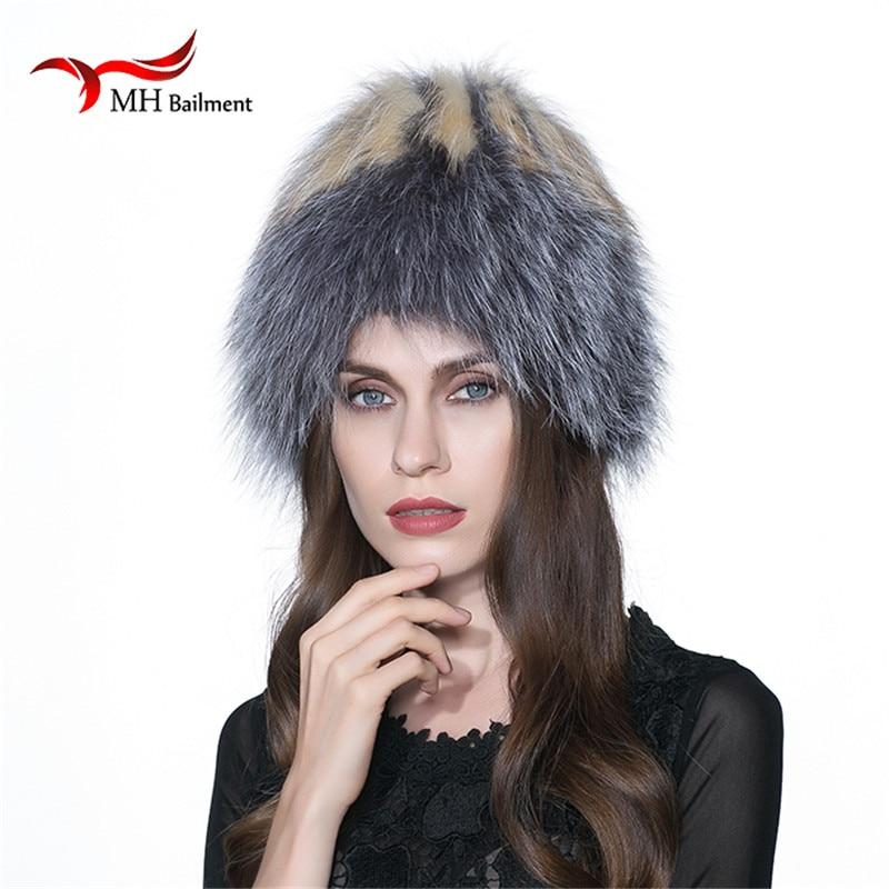 MH winter Women Fur Cap Real Fox Fur Hats Headgear Russian Outdoor Girls Raccoon Fur Beanies Cap New Fashion Fur Hat W#11