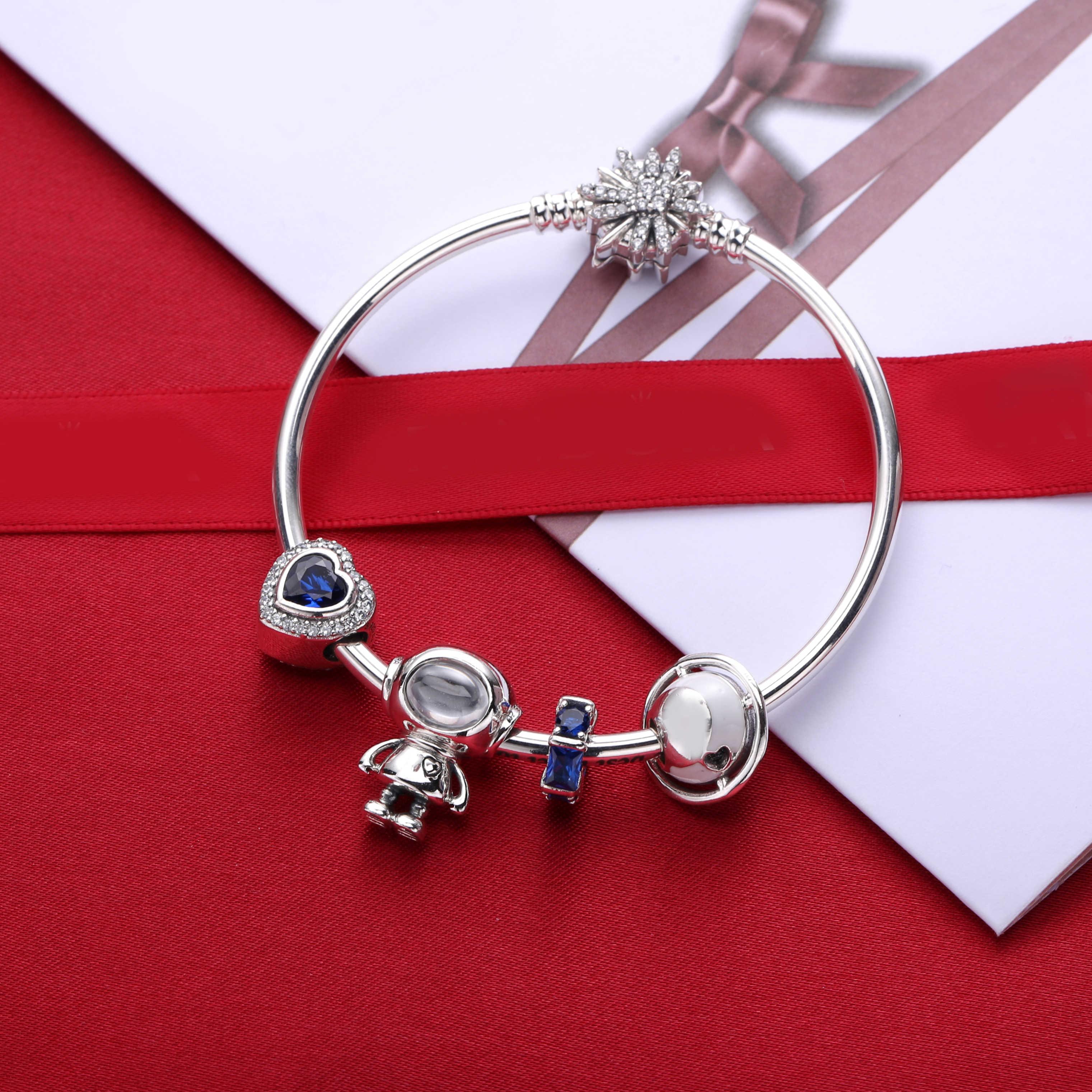 Ajax 100% 925 bijoux en argent Sterling auto-correspondant en forme de coeur mode bracelet à breloques pour les femmes cadeau d'anniversaire