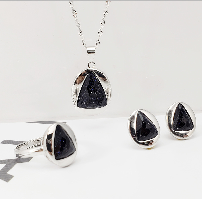 100% prawdziwa 925 Sterling Silver niebieski/czarny naturalny onyks damska biżuteria zestaw kobiety elegancki wisiorek naszyjnik pierścień stadniny kolczyki w Zestawy biżuterii od Biżuteria i akcesoria na  Grupa 2