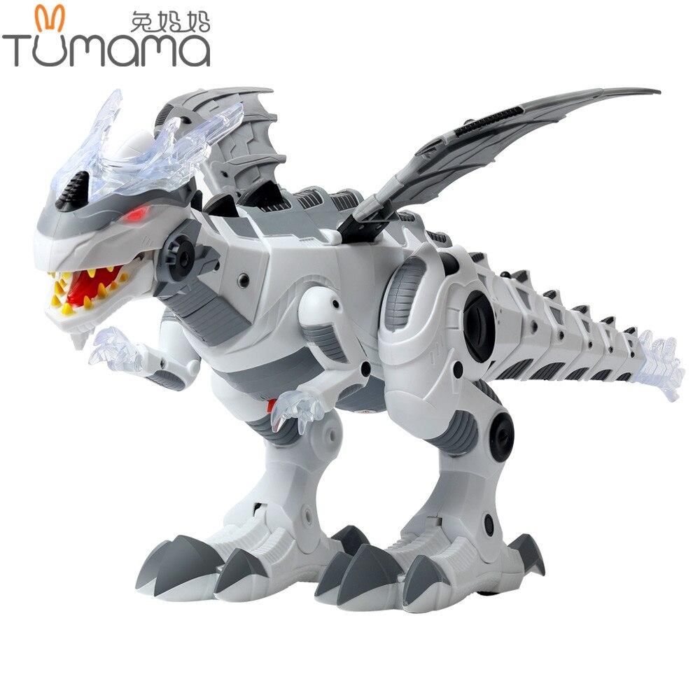 Tumama dinosaurio electrónico mascotas caminando Robot juguetes rugientes oscilantes iluminación intermitente juguetes eléctricos figuras de acción regalo para niños